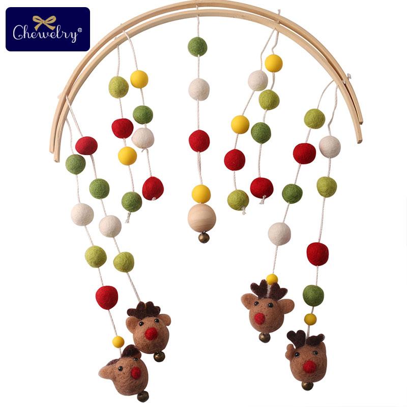 Bébé hochets Mobile balle cerf dessin animé en bois poussette suspendus bébé dentition hochet bébé jouets pour lit bébé berceau jouets en bois