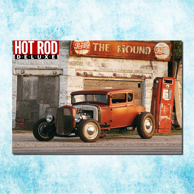 Hot Rod Muscle Car Art Silk Canvas Poster Print 13x20 24x36 Inches