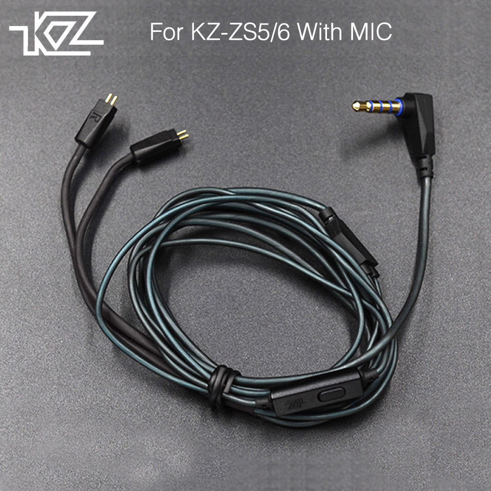 Newest KZ ZS3/ZS5/ZS6 Dedicated Cable 0.75mm 2-Pin Upgraded Cable Replace Cable Upgrade Cable Ues For KZ ZS3/ZS5/ZS6 With MIC