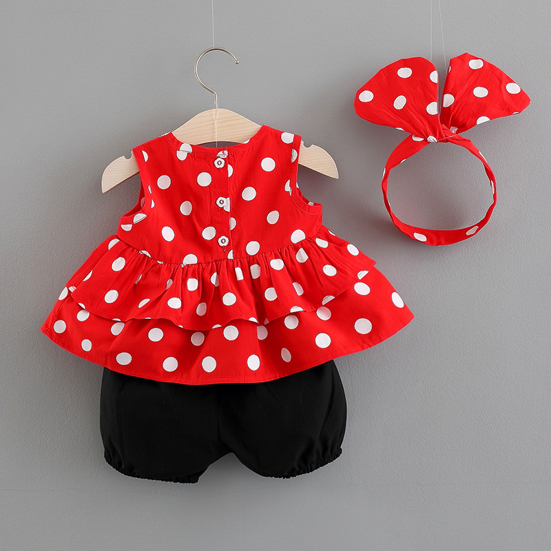 babzapleume 3Piece 2018 New Baby Outfit Summer Top Girls Clothes Cute Dot T-shirt+Shorts+Headband Newborn Clothing Sets BC1701-1