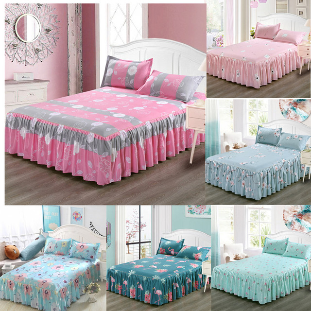 Classic Single Layer Bed Skirt Bedding Sets Non-slip Sheet Cover Bed Sheet Room Decor Flower Printing Bedspread Pillowcase 3pcs