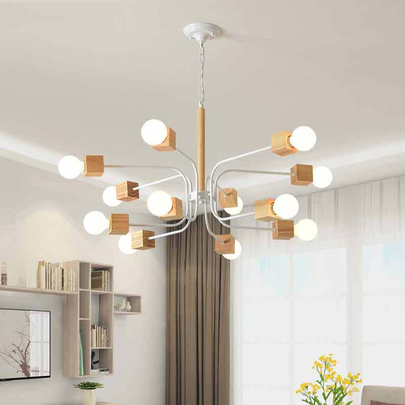 Modern LED Chandelier For Living Room Wood Lustres Wooden Chandeliers Hanging Dining Lights White Kitchen FixturesModern LED Chandelier For Living Room Wood Lustres Wooden Chandeliers Hanging Dining Lights White Kitchen Fixtures