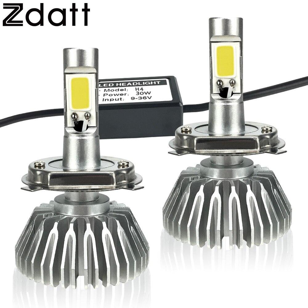 Prix pour Zdatt 2 Pcs Super Bright H4 Led Ampoule 60 W 6000Lm Phares H1 H3 h7 h8 h9 h11 voiture led lumière 12 v moto feu de brouillard drl Automobiles