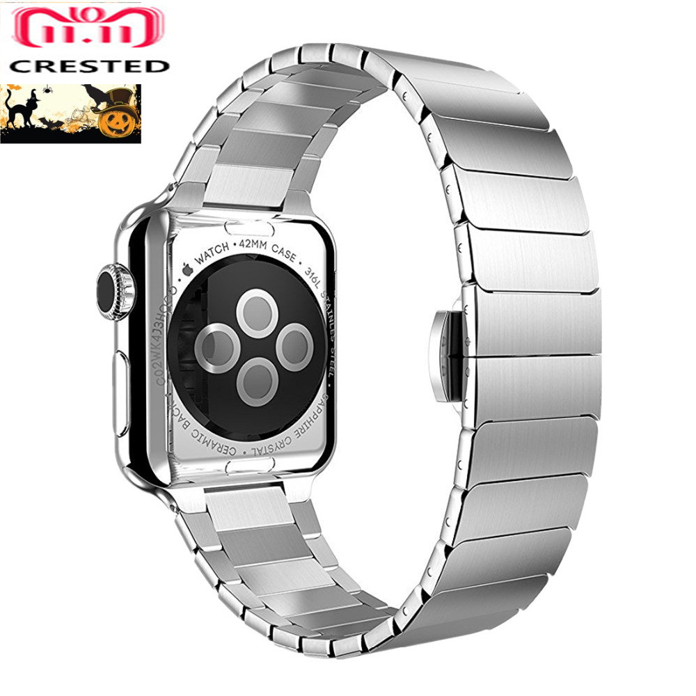 CRESTED butterfly loop band For Apple watch series 4 44mm 40mm stainless steel iwatch strap 42mm/38mm 3 2 1 Link bracelet belt butterfly lock link bracelet watch band strap for apple watch 38mm 42mm stainless steel