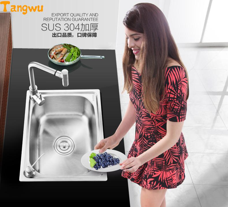 Éviers de cuisine livraison gratuite apartmentlégume lavabo simple rainure 304 en acier inoxydable éviers de cuisine 60x45cm