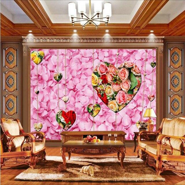 Romantic roses love petals curtains Mural Wallpaper for TV Backdrop ...