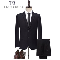 TIAN QIONG Black Men's Tailor Made Suits with Pants Formal Dress Mens Stage Wear Clothing Men Slim Fit Shinny Wedding Suit