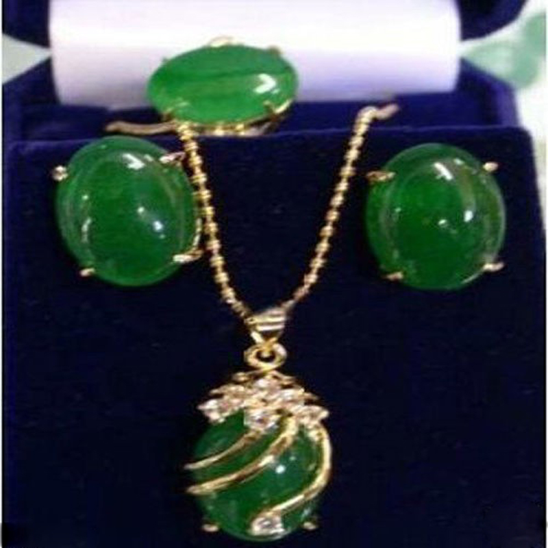 New Womens Exquisite green pendant Necklace ring earring/setY A625