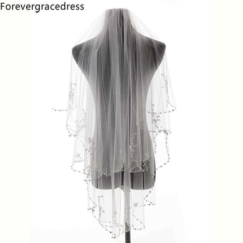 Forevergracedress Bead Edge Wedding Accessories Tulle Bridal Veil with Comb