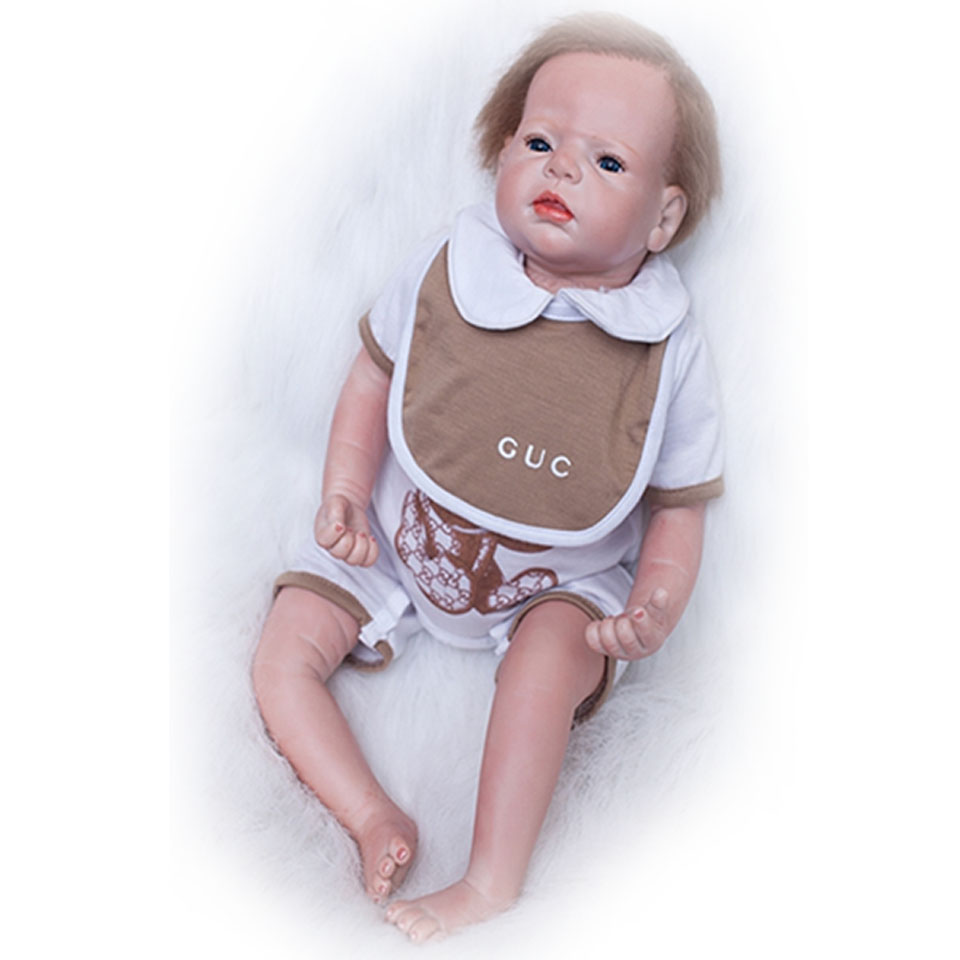 Safe Silicone Lifelike 22'' Baby Doll Touch Soft Baby Toy Realistic Reborn Dolls 55 cm Boy Toys Kits Birthday Xmas Gifts npkcollection fashion reborn baby doll 22 with free pacifier safe soft silicone model baby reborn with clothes kits xmas gifts