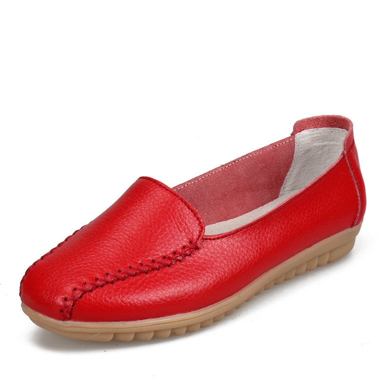 Summer Women Flats Genuine   Leather   Casual Shoes Slip On Flat Shoes For Woman Fashion Ladies Moccasins Women Ballet Flats Shoes