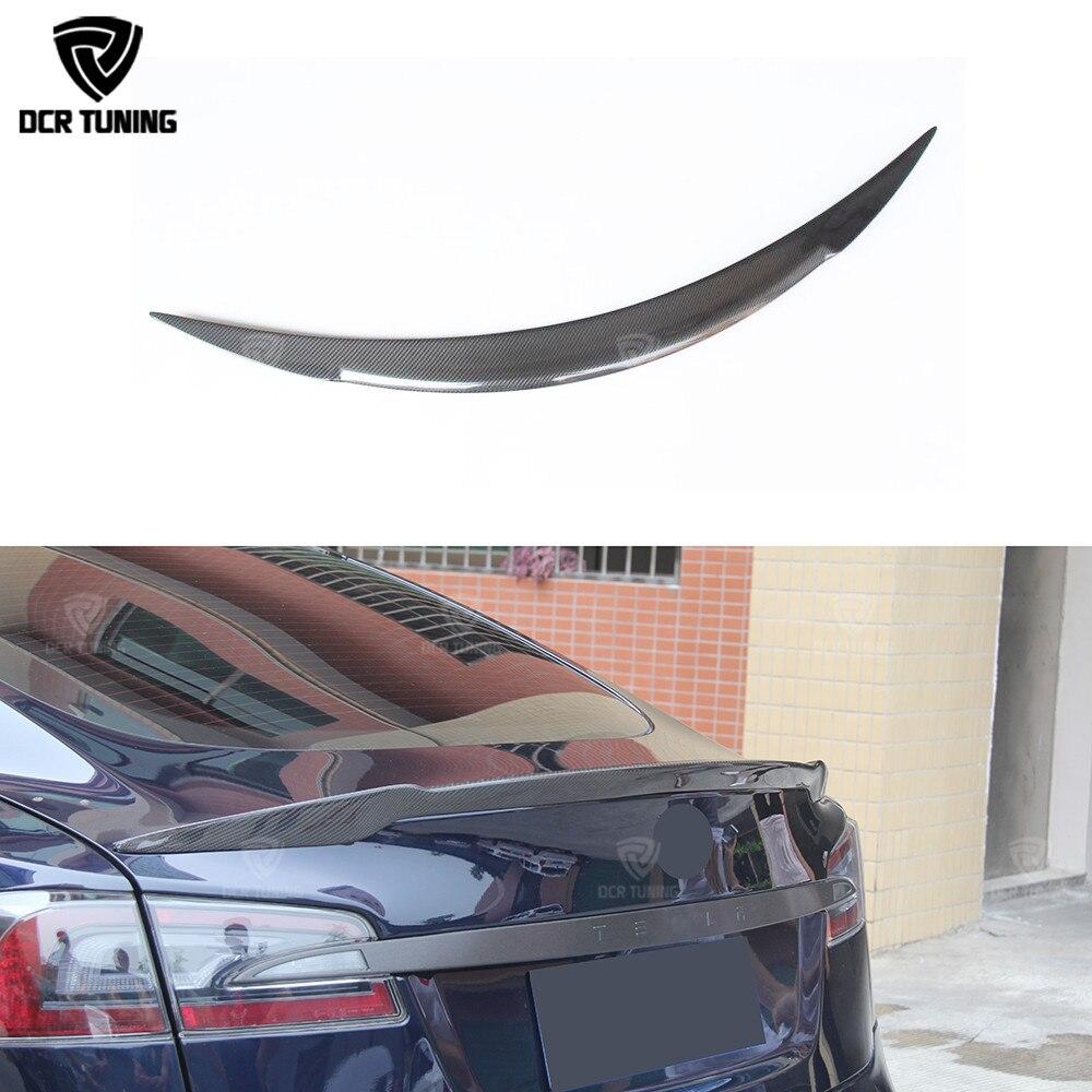 Для Tesla Модель S углеродного волокна задний спойлер багажника багажнике Глянцевая 4 Двери Седан на 2012
