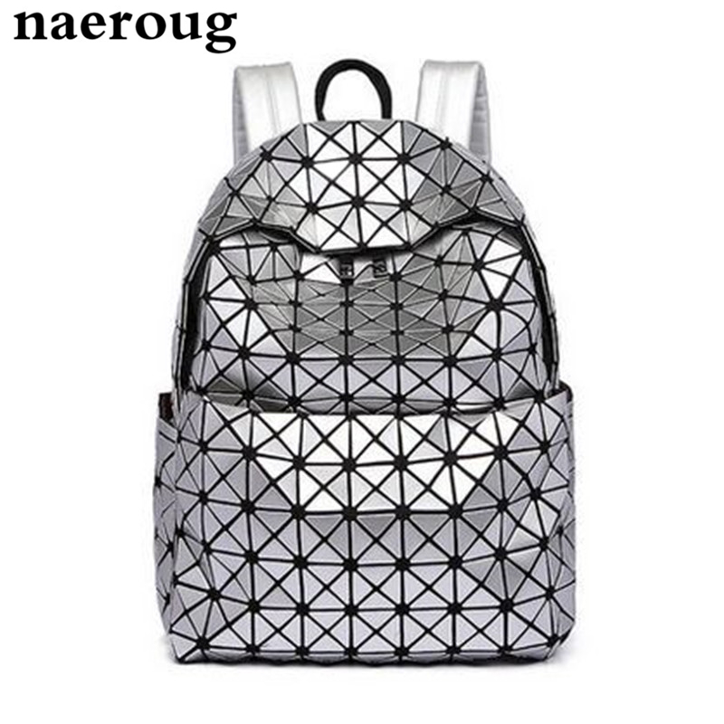 2017 Japan s Brands Lattice Laser Backpack Silver Colour Backpack for Teenage Girls Women Fold Geometry