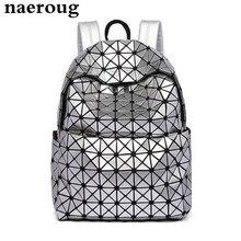 2017 Японии бренды решетки Лазерная рюкзак серебристый цвет рюкзак для девочек-подростков Женщины Сложите Геометрия Рюкзак Школьные Сумки sac