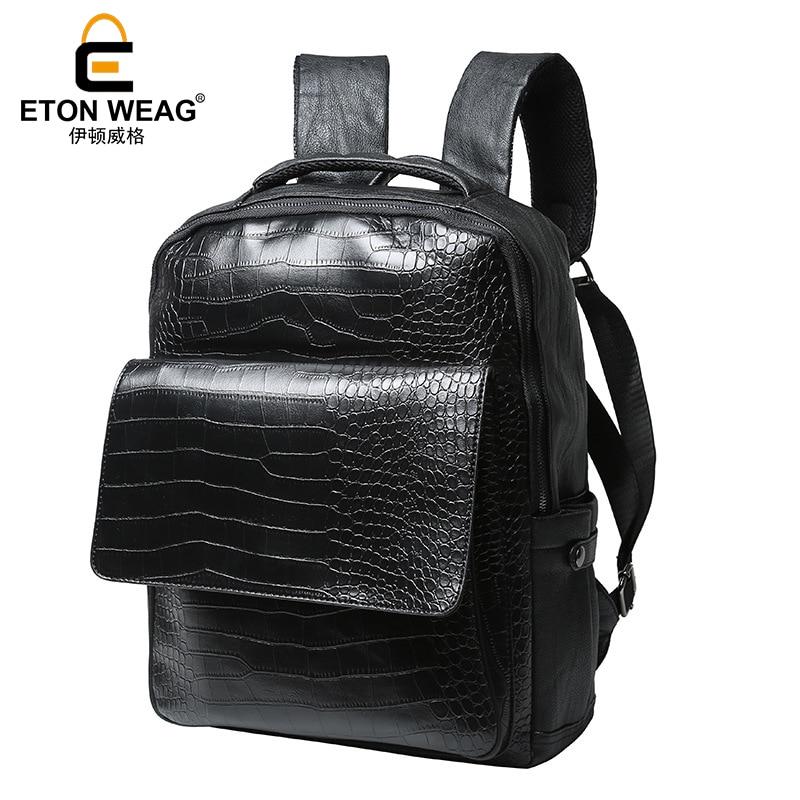 ETONWEAG Brands Alligator Leather School Backpacks For Men Black Luxury School Bags Fashion Laptop Bag BagPack Travel Backpack brands leather school backpacks for boys black fashion designer school bags hooded travel men backpack rainproof luggage new