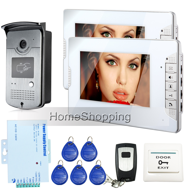 FREE SHIPPING Brand New Wired 7 Video Door Phone Intercom System 1 Night Vison RFID Access Camera + 2 White Monitor In Stock