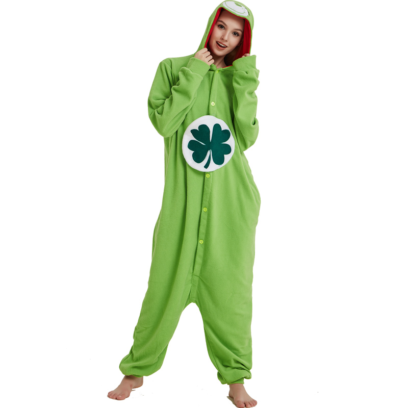 Green Four-leaf Clover Lucky Care Bear Cosplay Pajamas Adult Women Men Unisex Onesie One Piece Hooded Romper Party Costumes (3)