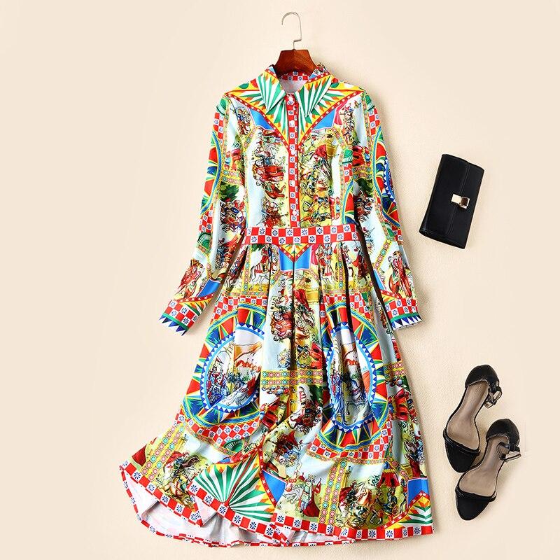 2019 Imprimer Mode Longues À Géométrique De ligne Robe Nouvelle Chemise Manches Patterns Été Robes Printemps Vintage A Femmes Chevalier E1Ywqva