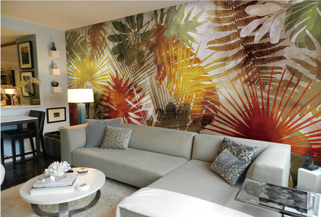 Custom wallpaper 3d southeast asian style palm tree leaf art murals for living room bedroom tv - Aziatische stijl woonkamer ...
