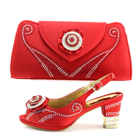 Latest Design Red Nigerian Shoes and Matching Bag Set Decorated with Rhinestone Luxury Shoes Women 2018 Women Summer Party Shoes