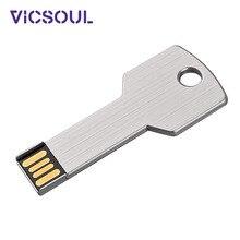 USB флеш-накопитель VicSoul, металлический usb-флеш-накопитель в форме ключа, карта памяти, флешка 16G 32G 64G 128G, флешка USB 2,0, серебристый