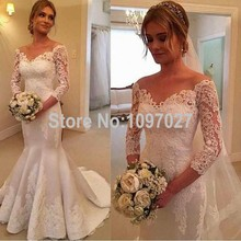 Mermaid V Neck Appliqued 3/4 Sleeves Wedding Dresses Sweep Train Satin Bridal Dresses With Sleeves AS37
