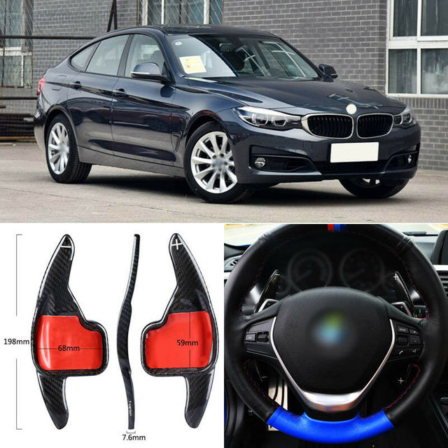 $ 98.69 Carbon Fiber Gear DSG Steering Wheel Paddle Shifter Cover Fit For BMW 3 Series GT 2016-2018