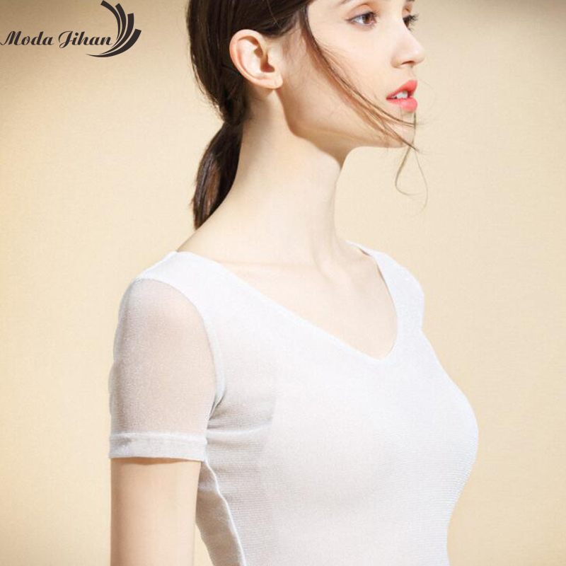 Moda Jihan Simple Style Women T-Shirts Short Sleeve Shirt Ladies Tops Soft Poly Shining Glitter Stretchable V Neck Basic TShirt