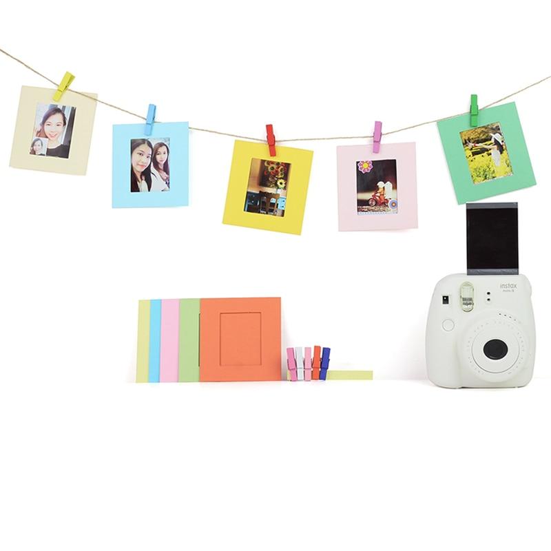 Mini marco de fotos de papel DIY con Mini telas de colores y Mini película Instax para almacenar fotos preciosas Collar con foto personalizada con imagen grabada personalizada y colgante de joyería para mujer