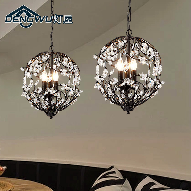 wrought iron crystal chandelier E14 American living room bedroom restaurant vestibule staircase nordic retro korean princess wrought lamp iron bedroom led lamp american pastoral style living room children chandelier