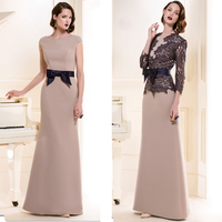 Custom Made Wedding Party Dresses with Black Lace Jacket 2015 Elegant A line Stain Wedding Mother Dress(MO 8166)