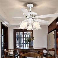 light home simple LED living room fan light bedroom country retro Nordic fan chandelier