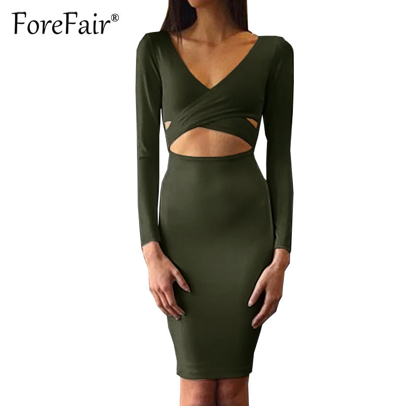 Forefair Sexy Criss Cross V Neck Bodycon Dress Women Autumn Winter Long Sleeve Night Club Wear Party Dresses Vestidos de festa 5