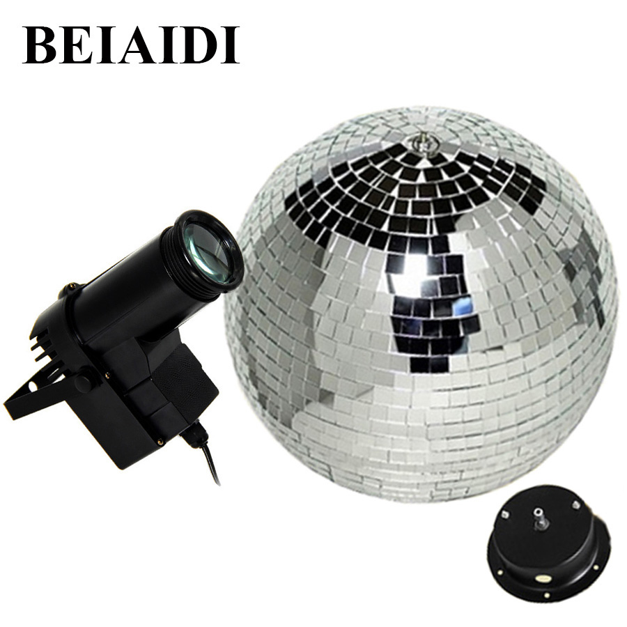 BEIAIDI D20CM Reflective Glass Rotating Mirror Ball With Motor Fixture + 10W RGB Beam Pinspot Disco DJ Stage Light DJ Disco Lamp colorfull light mirror reflection glass ball stage festival hanging ball motor 10inch 19cm
