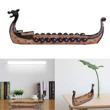Incense Burner Dragon Boat Wood Figurines HomeFunny Handmade Painted 24*12*5cm