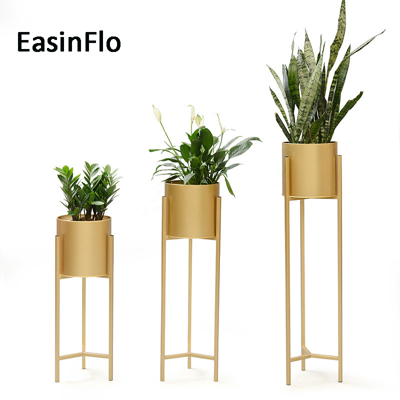 Large Modern Round Iron Gold Metal Floor Flower Vase Green Plant Pot For Home Shop Hotel Party Decor Vases Aliexpress