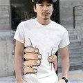 2016 venda quente dos homens vestuário de moda camisa dos homens t grande mão impressão de algodão T-shirt dos homens de manga curta tops tees 3D camiseta para homens