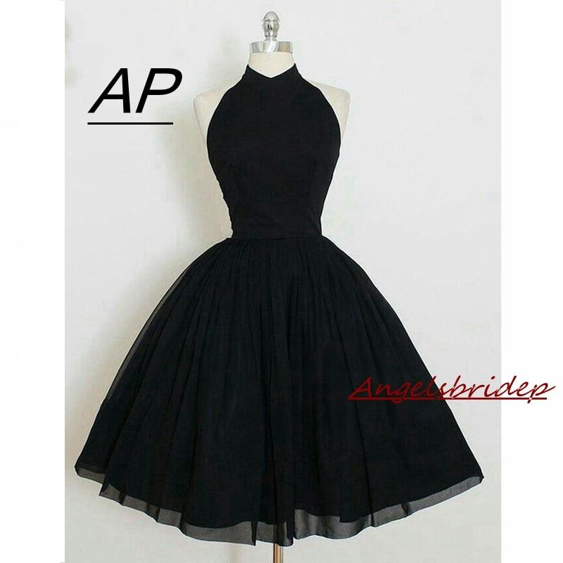 Angelsbridep 2019 Black Ball Gown Homecoming Dress Short High Neck Sleeveless Chiffon Cocktail Party Dress Mini