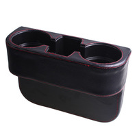 Microfiber Leather Car Seat Seam Dua Cup Water Drink Bottle Storage Holder Mount Stand Black Auto
