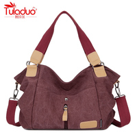 2016 TuLaDuo Design Fashion Casual Canvas Women Shoulder Bag Famous Brand Women Messenger Bags Lady Crossbody