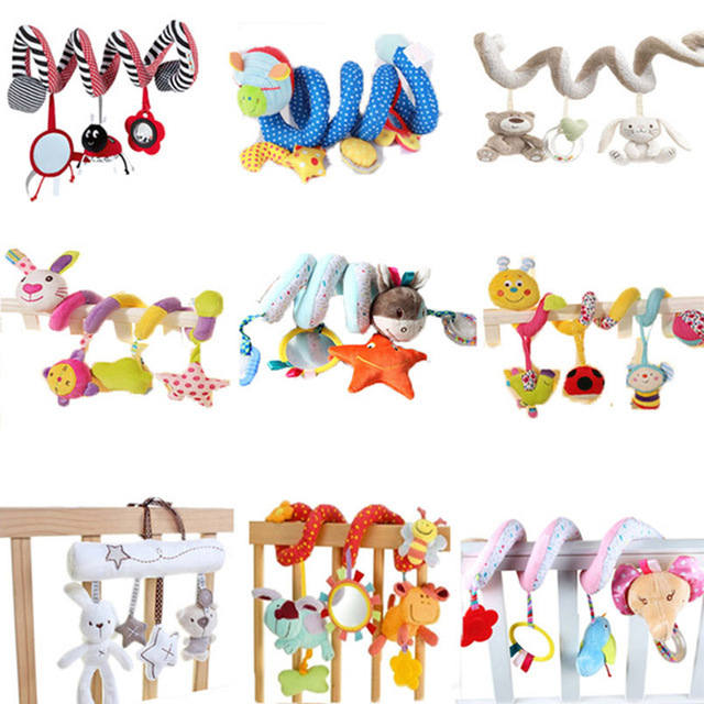 21 Styles Animals Spiral Rattles Crib Stroller Baby Bed Toys Stuffed Stroller Toys Plush Baby Development Toys for Kids toy baby stroller comfort stuffed animal rattle mobile infant stroller toys for baby hanging bed bell crib rattles toys gifts