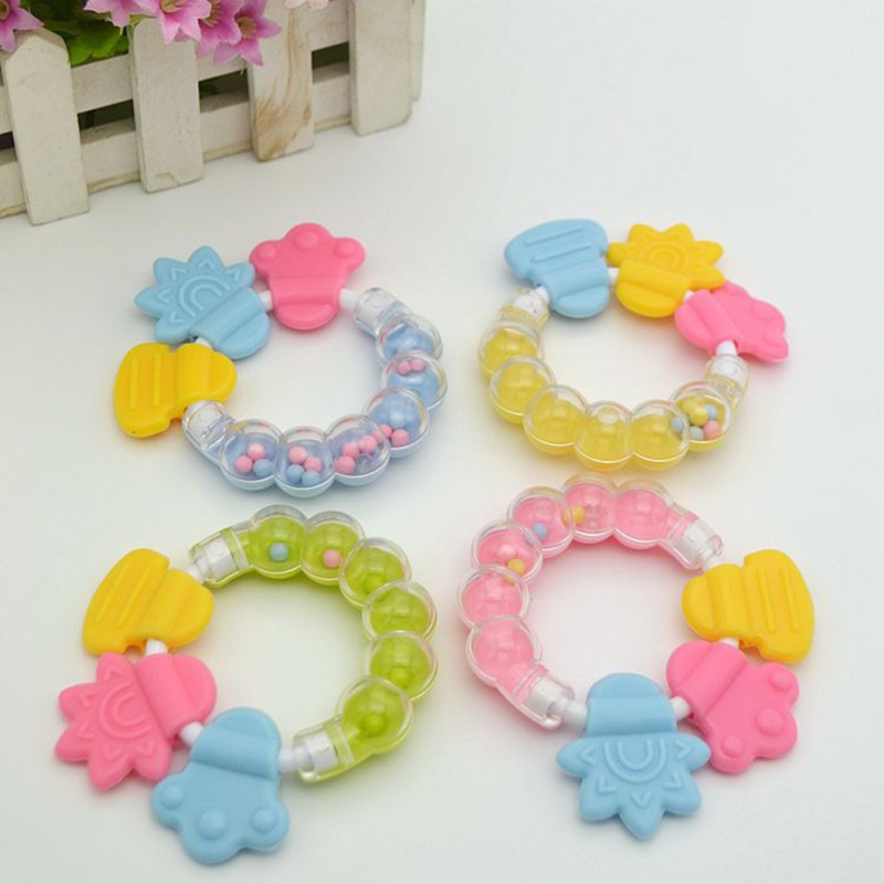 Baby Boy Girl Teether Baby Toy Rattle Teething Safe Silicone Ring Biting Jingle Handbell Shower Gift