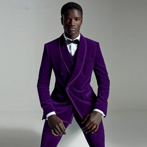 Image 1 - Suit Male 2020 Groomsmen Suit Men With Pants Terno Slim Fit Reached A Peak Lapel Blazer Wedding Groom Tuxedo Purple Mens Velvet
