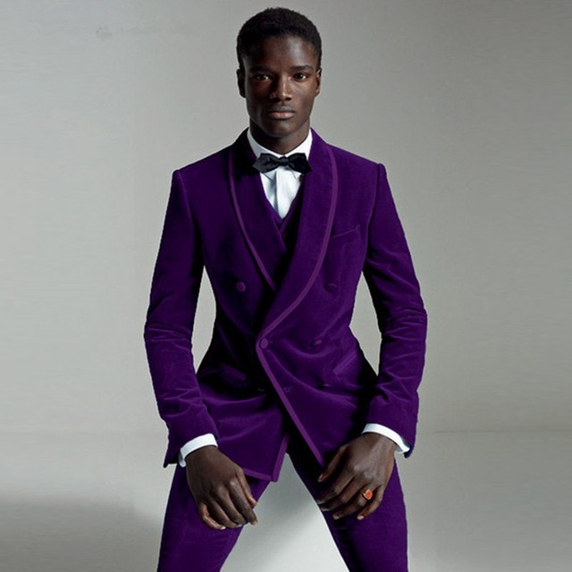 Suit Male 2020 Groomsmen Suit Men With Pants Terno Slim Fit Reached A Peak Lapel Blazer Wedding Groom Tuxedo Purple Mens Velvet