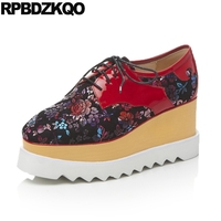 Creepers Platform Women Large Size Harajuku Shoes Elevator Red Floral Print Flats Thick Sole Muffin Spring