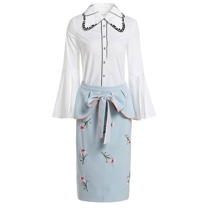 Svoryxiu คุณภาพสูงฤดูร้อนชุดกระโปรงผู้หญิง Flare แขนเสื้อสีขาว + โบว์กระโปรงเย็บปักถักร้อยรันเวย์ 2 ชิ้นชุด-ใน ชุดสตรี จาก เสื้อผ้าสตรี บน   3