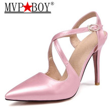MVP BOY Women Pumps Pointed Toe High Heels Fashion Women Shoes Pumps Leather Ankle Strap High Heel Shoes big size 34-44