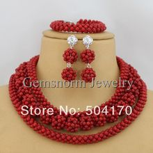 Free Shipping Handmade Red Coral Beads Jewelry Set African Beaded Jewelry Set CNR033-1