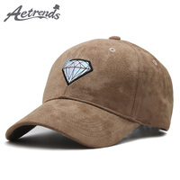 [AETRENDS] Fashion Men 2018   Cap   Suede Fabric   Baseball     Cap   Man Mark Branded   Baseball     Caps   Snapback Hats Luxury Trucker Hat Z-6409
