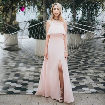 Prom Dresses Long Ever Pretty Elegant Off-shoulder A-line Leg Slit Wedding Guest Dresses Sexy Purple Chiffon Long Party Gowns 5